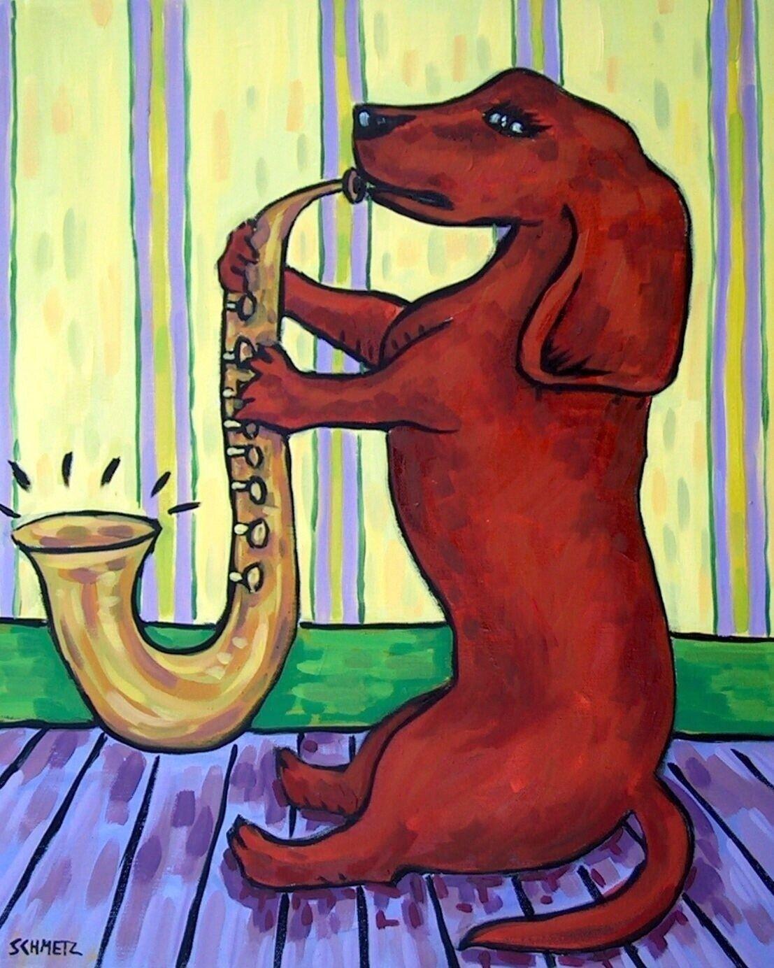 DACHSHUND SLEEPing 11x14  art PRINT dog animals impressionism