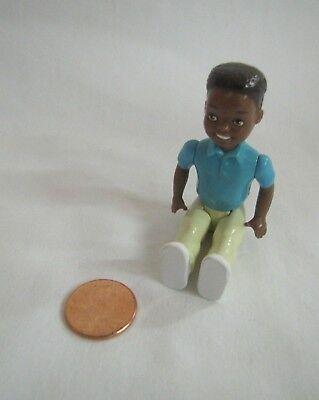 New PLAYSKOOL Dollhouse AFRICAN AMERICAN BOY BROTHER SON DOLL Green Shirt Pants