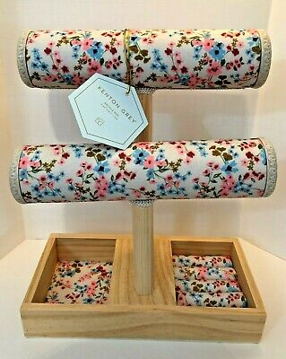 New Jewelry Spring Display 2 Tier T-bar Bracelet Bangle Rings Floral Fabric Wood