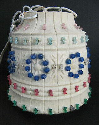 """Vtg LAWNWARE 237 USA Hanging Blowmold Beaded Swag Lamp Light RV Patio w/chain 7"""""""