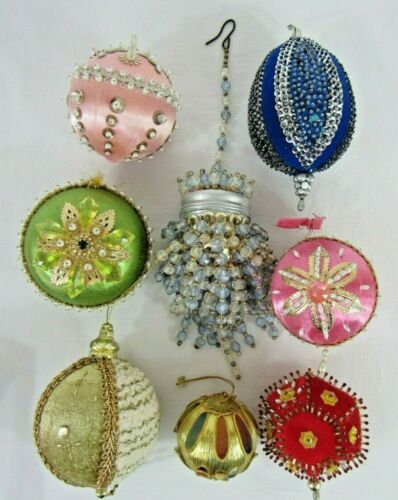 8 HIGHLY DECORATED VINTAGE SEQUIN BEAD CHRISTMAS ORNAMENTS