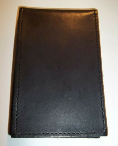 NEW / NOS Bifold Black Leather Wallet ID OVAL BADGE HOLDER USA Made