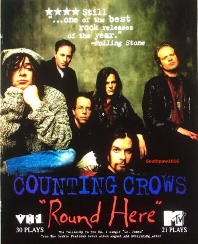 """1993 Counting Crows  """"Round Here""""  Song Release Promo Reprint Ad"""