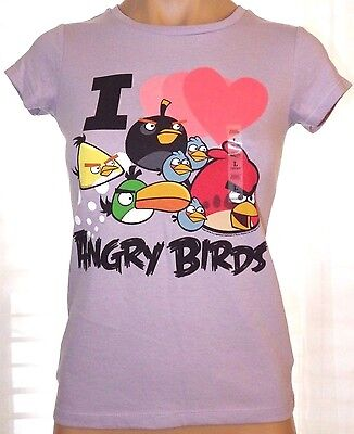 New Old Navy L (10-12) purple Angry Birds short sleeve tee shirt