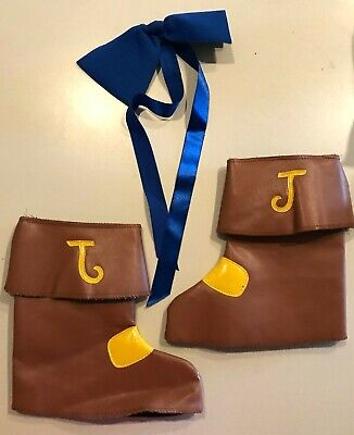 Jake Pirate Boots (JAKE PIRATE BOOT COVERS HALLOWEEN COSTUME ACCESSORY BOYS ONE SIZE BLUE BOW)