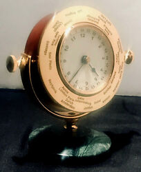 Vintage Bombay Company Desk Mantel Clock World Time Zone marble base