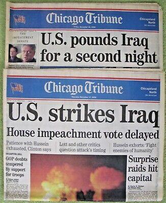 Chicago Tribune   Us Strikes Iraq    Lot Of  2  Newspapers  December  1998