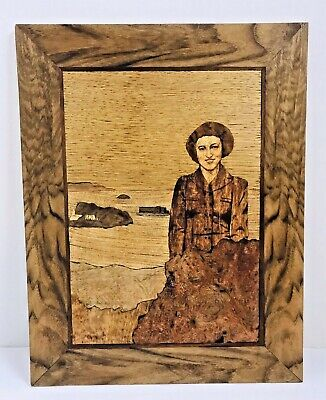 Vintage Marquetry Aetnaply Women Wood Inlay Framed Art Landscape Carantec France