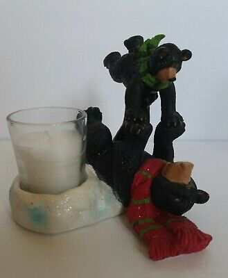 Yankee Candle Christmas Bears Votive Candle Holder 2012 Mom and Cub Playing