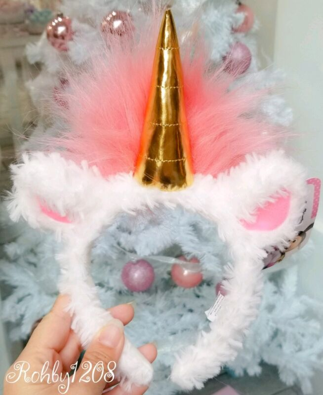 Universal Studios Despicable Me Agnes Fluffy Pink & White Unicorn Ears Headband