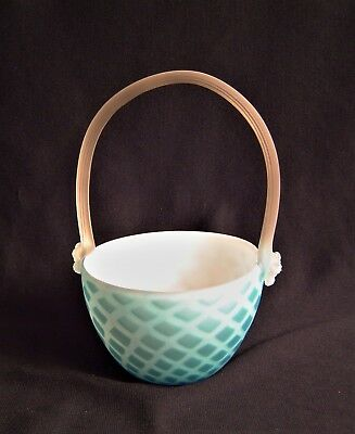 Quilted Cased Satin Glass Basket with Clear Satin Glass Handle Circa 1880