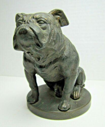 BULLDOG Old Cast Metal Figural Dog Statue Ornate Fine Detail Yale Mack Truck Ad