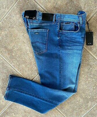 Armani Exchange A|X Slim Fit Jeans 36 x 32 Medium Whiskered Denim J13 NWT $120