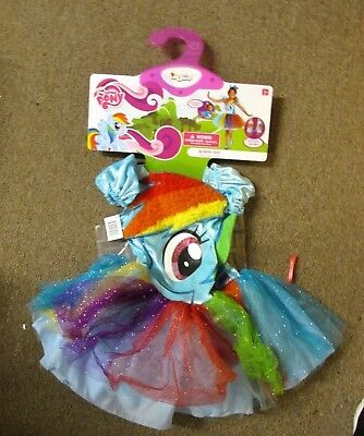 MY LITTLE PONY RAINBOW DASH DELUXE TODDLER COSTUME SIZE 3-4 WING GLOVES HEADBAND