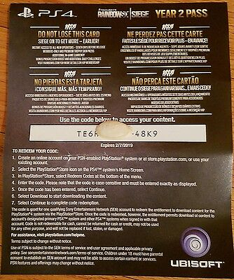 PS4 Tom Clancy's Rainbow Six Siege Year 2 Pass Bonus Content Card Only