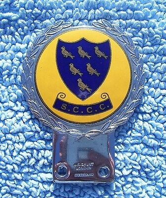 VINTAGE 1960s SUSSEX COUNTY CRICKET CLUB CAR BADGE-OLD SCCC EMBLEM JR GAUNT RARE