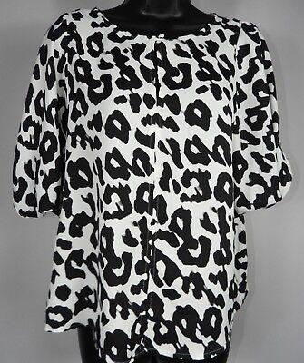 Ann Taylor LOFT Black & White Animal Print Short Sleeve Shirt Size SP