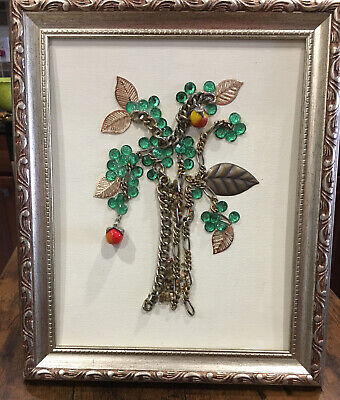 VINTAGE JEWERELY MIXED MEDIA FRAMED APPLE TREE WALL ART
