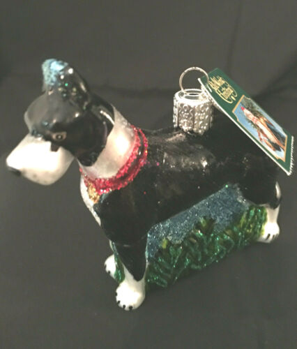 New Old World Christmas Glass Black and White Great Dane Christmas Ornament