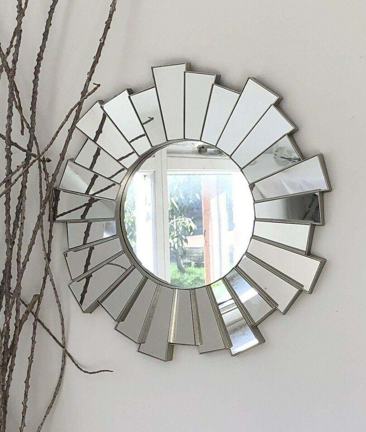 mirror - Silver Sunburst Ornate Art Deco Round Wall Mirror Decorative Vintage Style