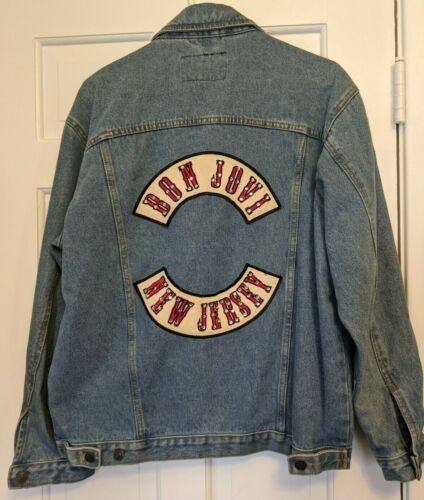Vintage Bon Jovi New Jersey Blue Denim Jacket Size Medium rhinestones Stylo Rare