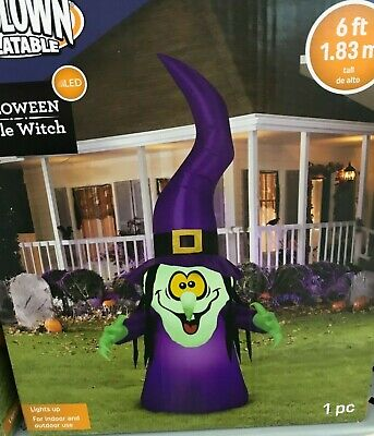 Halloween Airblown Inflatable Gemmy PURPLE WITCH 6 FT NEW YARD Greeter LED NEW