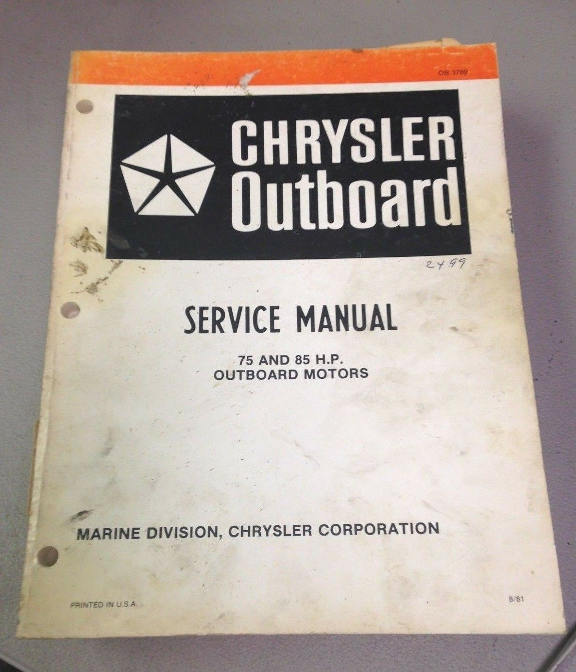 USED CHRYSLER MARINE SERVICE MANUAL, 75 AND 85 H.P. OUTBOARD MOTORS, OB3789
