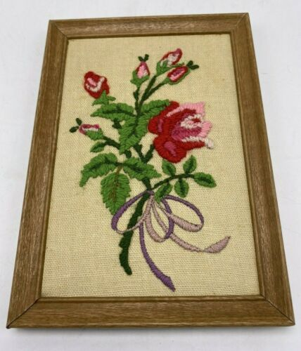 """Antique Needle Point Picture Floral in Faux Wooden Frame Floral 7.25"""" x 5.25"""""""