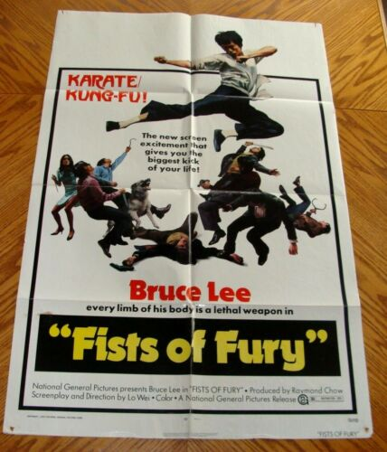 "1973 ~BRUCE LEE~ FISTS OF FURY ~ ORIGINAL THEATER MOVIE POSTER, 27"" X 41"""