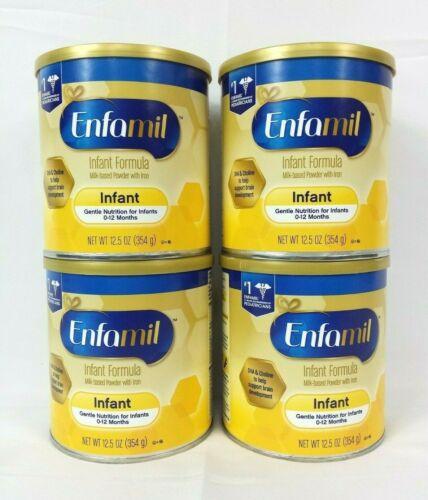 Enfamil Infant Formula Gentle Nutrition 0-12 Months 12.5oz, Lot of 4 Cans