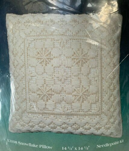 Sealed Creative Expressions X3108 Snowflake Pillow Needlepoint Kit 14-1/2 Square