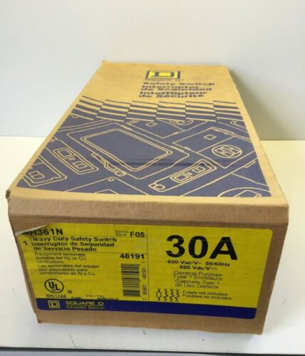 NEW, SEALED, SQUARE D, H361N, HEAVY DUTY SAFETY SWITCH, 30A, 600VAC. (21F-2)