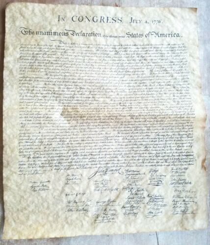 Vintage Distressed Copy of Declaration Of Independence United States Of America