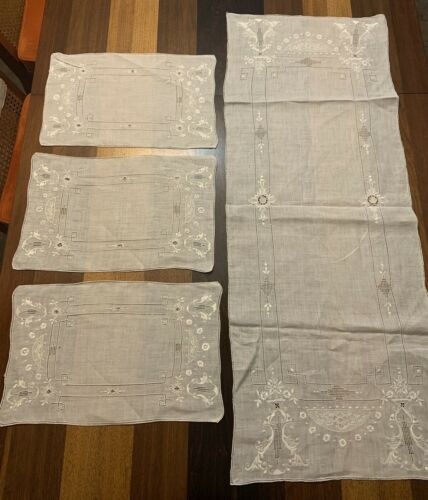 3 Antique Vintage Italian Whitework Placemats & Runner LACE Filet Embroidery