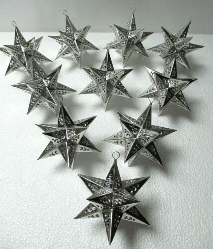 """Mexican Art Punched Silver Tin Star Ornament Set of 10 Christmas 4"""""""