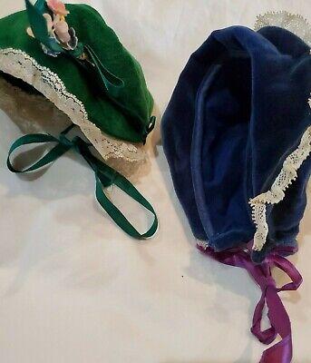 2 Vintage Velvet Doll Hats Green Navy Excellent