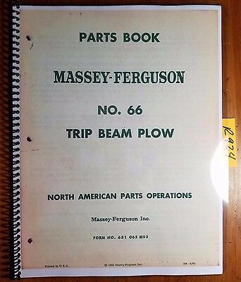 Massey Ferguson 66 Trip Beam Plow Parts Book Manual 651 065 M93 564