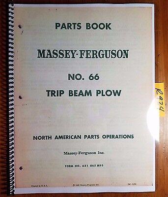 Massey Ferguson 66 Trip Beam Plow Parts Book Manual 651 065 M93 564