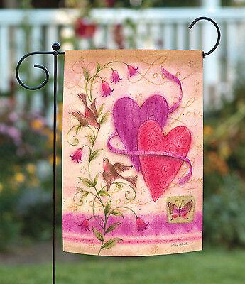 Toland Love Birds 12.5 x 18 Red Valentine Romantic Heart Gar