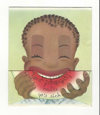 VINTAGE 1940's Golden Bell - Black Americana Greeting Card - Get Well Card