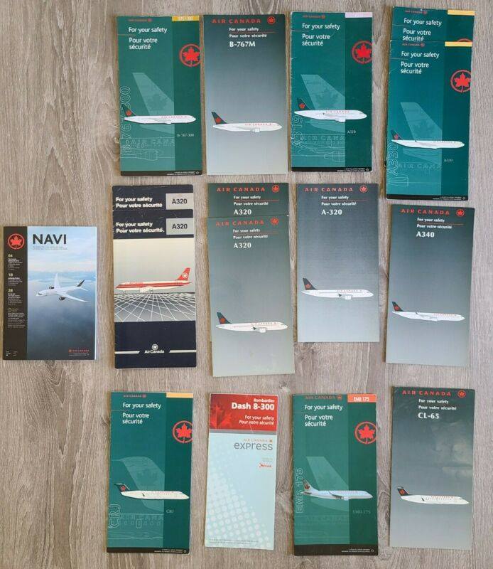 Lot of 15 Air Canada Safety Cards B767 A319 A320 A330 A340 CRJ Dash EMB CL-65
