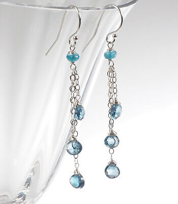 London Blue Topaz Drop (Dazzling Precious London Blue Topaz Chain Dangle Drop Handmade Silver Earrings )