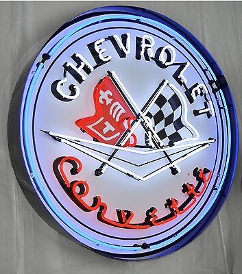 "Giant Corvette Flags 3 Ft. Chevy 36"" Round Neon Sign 9CORBL w/ Free Shipping"
