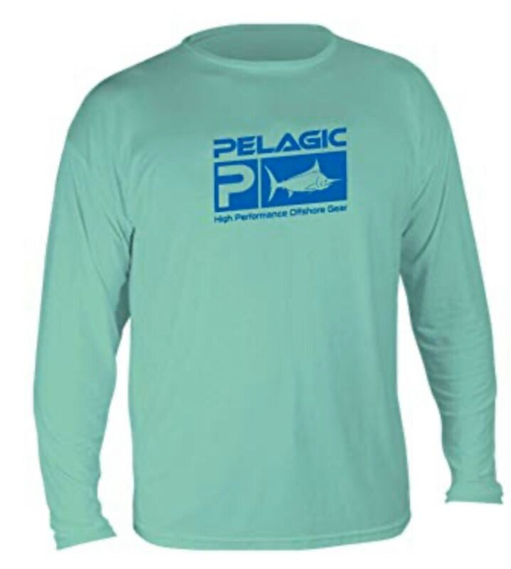 Pelagic Aqua Tek Green UVA Longsleeve Pullover Sunshirt Youth Size Large