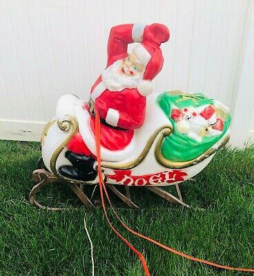 "Vintage Christmas Empire Blow Mold Santa sleigh handmade wood rails 39""W x37"""