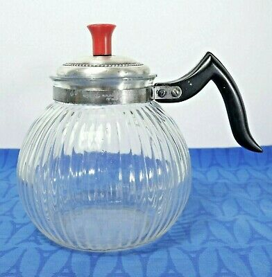 Vintage Silex Vacuum Coffee maker ribbed glass base coffee pot only with lid.