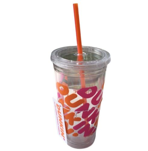 Dunkin Iconic Acrylic Tumbler 27 OZ DNKN Pink Orange 2020 Brand New