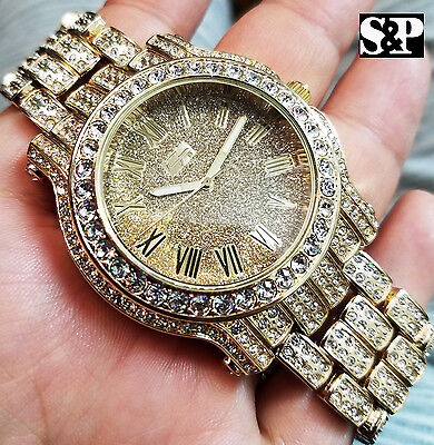 Men Best Hip Hop Iced out Luxury Gold Tone Bling Simulated Diamond Rapper