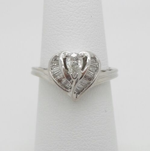 Vintage 1/2CT Diamond Solitaire Engagement Wedding Ring Bridal 14K White Gold