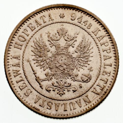 1874 Finland 1 Markka Silver Coin in AU Condition KM #3.2